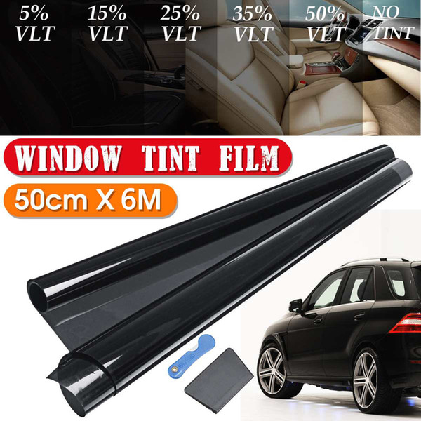 best selling 6M*0.5M Car Window Black Tint Film Tinting Roll Kit VLT 8%,15%,25%,35%,50% UV-Proof Resistant for Auto Window