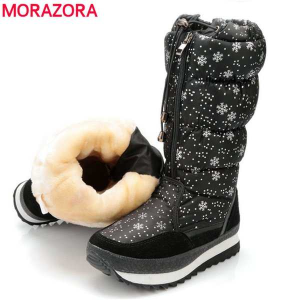2019 MORAZORA New arrival 2018 warm Snow boots ladies suede leather mid calf boots waterproof plush female shoes women winter boots
