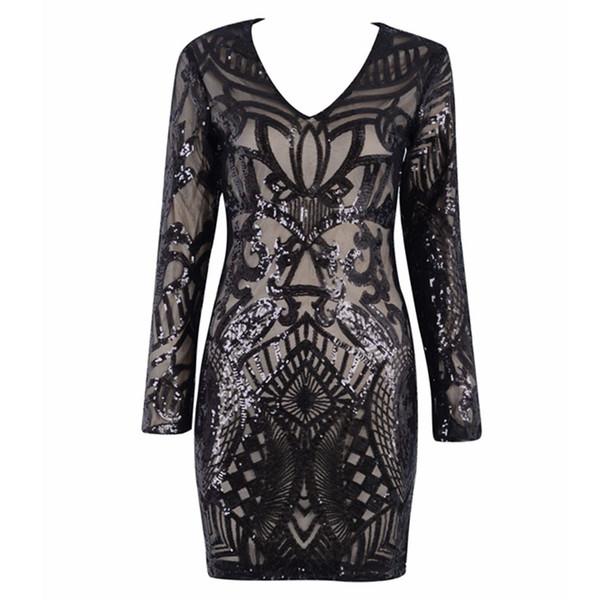 La más nueva moda Celebrity Party Bodycon vestido de mujer negro de manga larga con cuello en v con lentejuelas Sexy Night Out Club Dress Mujeres Vestidos