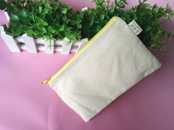 100pcs 20.5*13cm Mix zipper Pure white cotton canvas cosmetic Bags DIY women blank plain zipper makeup bag phone clutch bag pencil bag