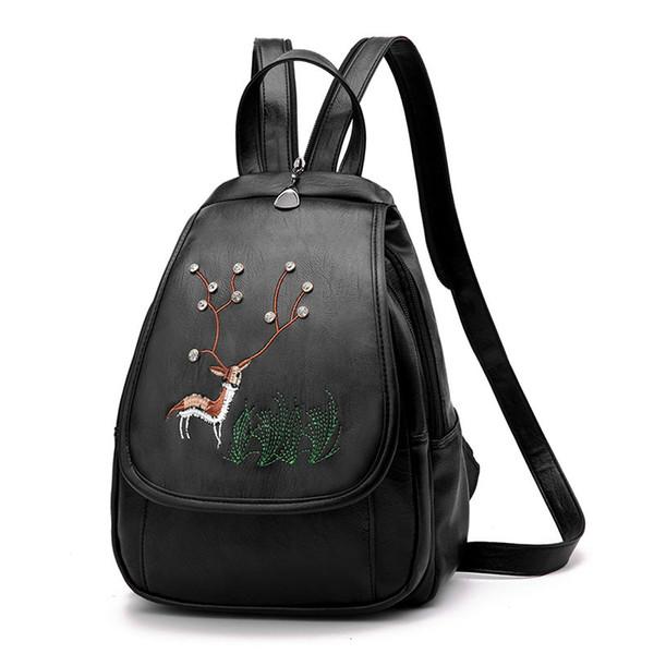 2019 New Fashion Women Leather Backpack Designer Handbag Ladies Embroidered Travel Bag Shoulder Bags Outdoor Knapsack Student Satchel Purse