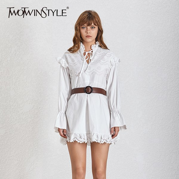 TWOTWINSTYLE Flare Sleeve Womens Dress Bandage Long Sleeves High Waist Hollow Out With Sashes Mini Dresses Female 2019 Fashion