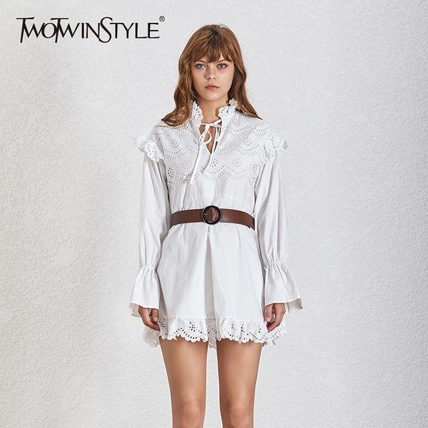 TWOTWINSTYLE Parlama Kol Bayan Elbise Bandaj Uzun Kollu Yüksek Bel Sashes Mini Elbiseler Ile Oymak Kadın 2019 Moda