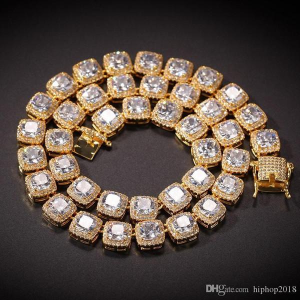 2017 Hip Hop Chains bling bijoux pour hommes Glacé diamant Tennis chaîne Collier Bracelet de haute qualité carrée Zircon Colliers-7inch 24inch