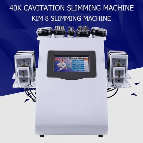 Máquina de cavitación por ultrasonidos 6 en 1 Máquina de cavitación por ultrasonidos 40 K Vacío Lipolaser RF Adelgazamiento Pérdida de peso corporal Cavi Lipo Contorneado de equipos