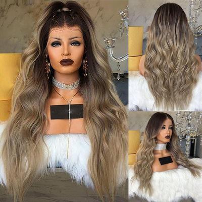 La mode des femmes avant de lacet Ombre perruque blonde longue longue perruque ondulée perruques de cheveux