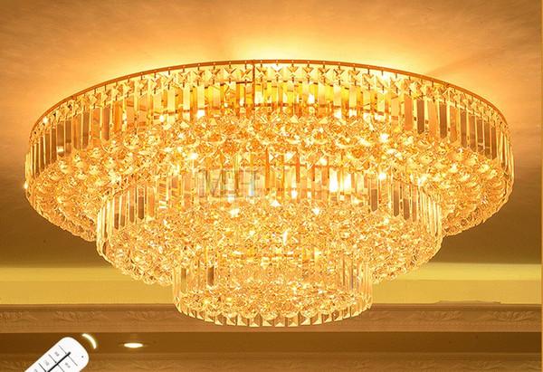 Ouro rodada le teto lâmpada moderna simples sala de estar lâmpada de cristal villa hotel restaurante quarto bolo luz para iluminação do quarto LLFA