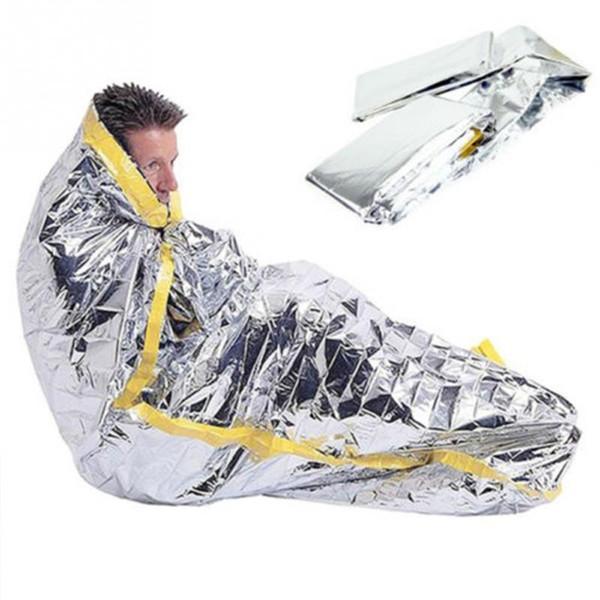 Portable imperméable à l'eau réutilisable crème solaire couverture feuille d'argent camping survie chaud en plein air adulte sac de couchage