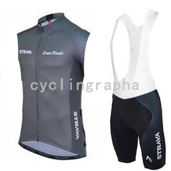 STRAVA team Cycling Sleeveless jersey Vest bib shorts sets Breathable Quick Dry Outdoor sportswear summer mens 60435