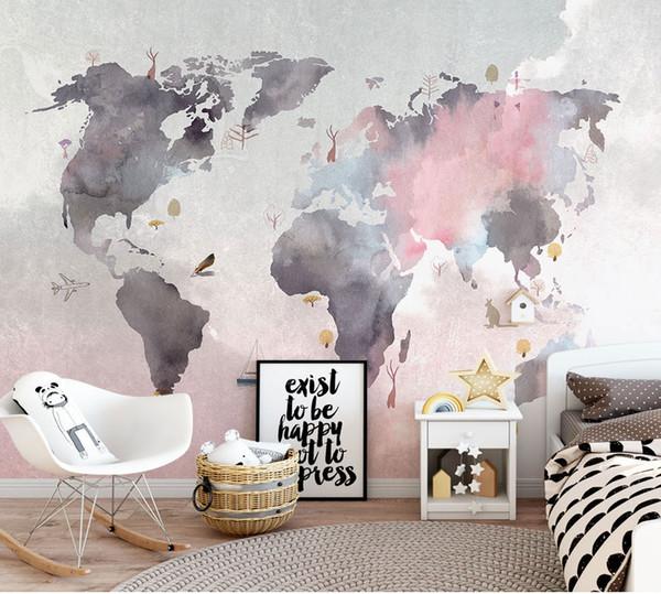 Acheter 8d Abstrait Monde Carte Papier Peint Murale Pour Bebe Chambre Enfant Canape Backaground 3d Photo Murale 3d Autocollant Mural Carte 3d Papier