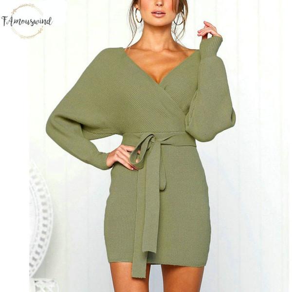 Женщины платья 2019 Трикотажное мини Повседневный осень платья платья зима дамы сексуальный зеленый свитер платье с длинным рукавом Vintage корейских Ady08