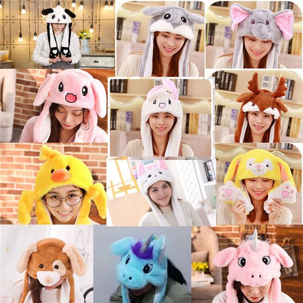 Ear Moving Hat Kids Lovely Baby Cartoon Plush Cap Halloween hats Christmas Masquerade Carnival Cap Women Men Hat Decoration Party Games 5101