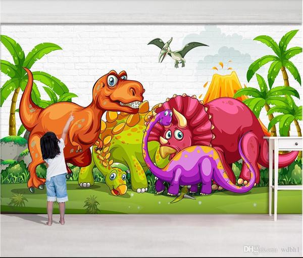3d room wallpaper custom photo non-woven Cartoon hand drawn Jurassic Dinosaur Paradise Tyrannosaurus Remnant murals wallpaper for walls 3 d