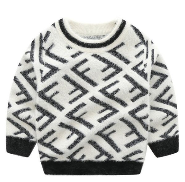 Fall and Winter 2019 New Trendy Children's Dress Boys F-jacquard Knitted Sweaters Korean Edition Children's Mink-like Pullovers