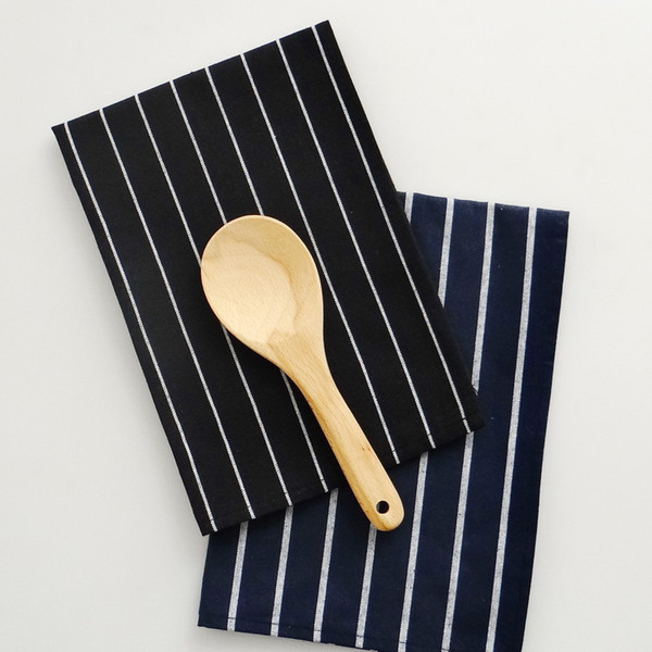best selling 12 Pcs lot Family daily use Mediterranean blue series anti fade 100% cotton dark blue striped Kitchen dining table napkins Tea towels