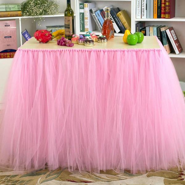 Fluffy Table Skirt 29 Disegni Tovaglia di Tulle Festa di compleanno per bambini Sedile Sedia Gonna Natale Decorazione della festa nuziale 1 Pezzo ePacket