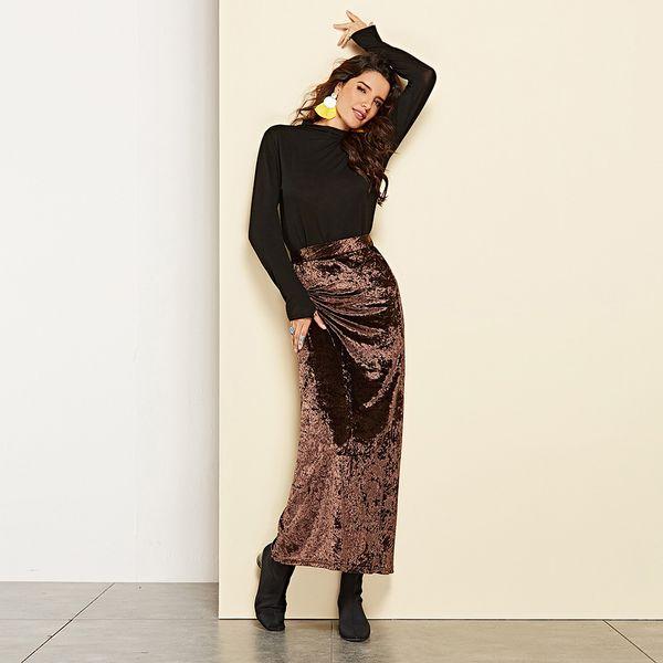 Long Skirts For Women 2019 Long corduroy skirt women Velvet skirt Plus Size Boho high waist skirts pencil bodycon Korea Fashion