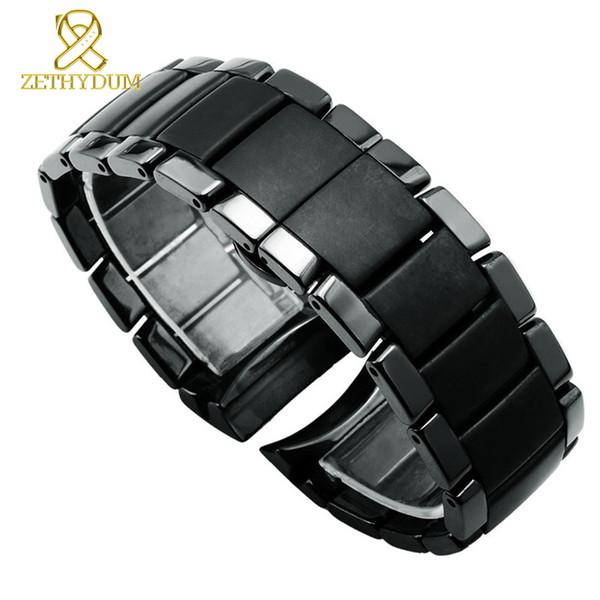 Banda de reloj de cerámica Mate Correa de reloj Pulsera negra Relojes Banda 22 24 mm Mariposa Hebilla Reloj correa para Ar1451 Ar1452 T190620