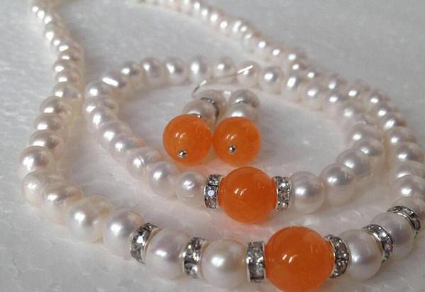 jewelry shippingReal White Akoya Cultured Pearl/Orange Jade bracelets necklace earrings set/BV66