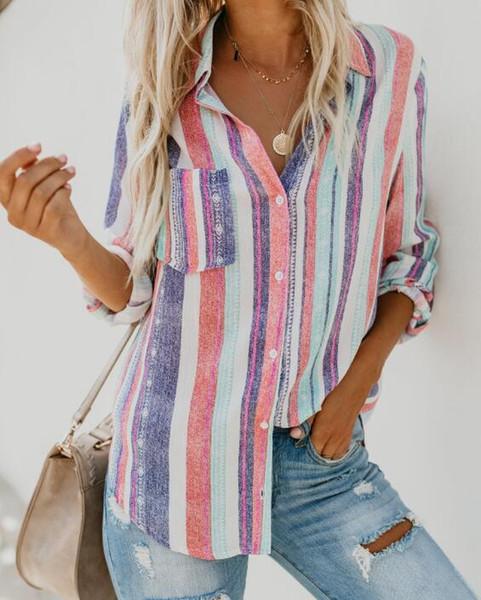 İlkbahar ve yaz moda sıcak stil moda sonbahar ve kış yeni stil renk şerit büyük boy gömlek moda rahat bluz kadınlar ücretsiz shipp