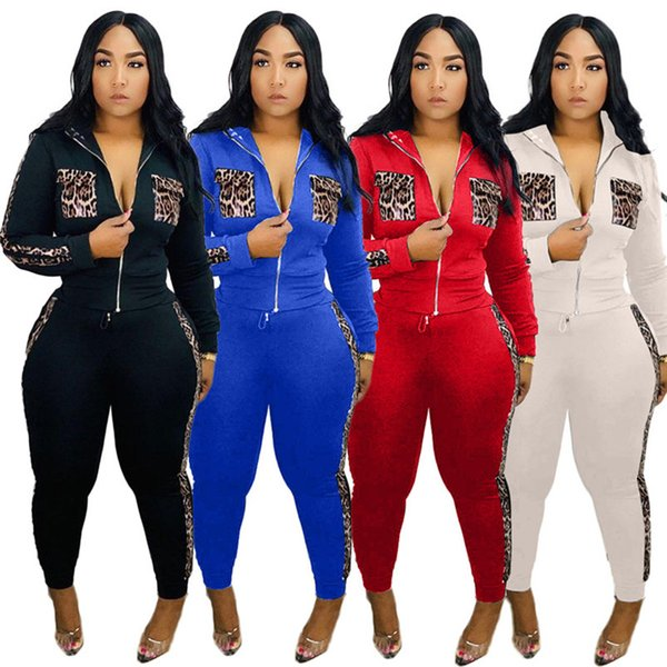 Plus size Winter Women outfits 2 pieces set tracksuit leopard coat top+pants casual patchwork jogger suit outdoor sports sweatsuits 2103