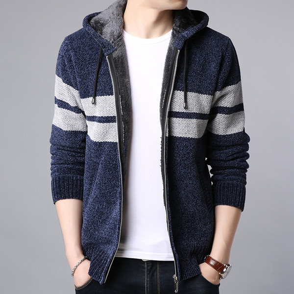 2019 New Fashion Jackets For Men Thick Warm Velvet Streetwear Trend Cardigan Overcoat Winter Hooded Casual Coat Mens Clothes
