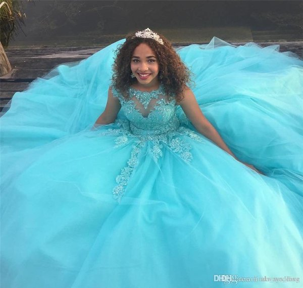 2019 Saudi Africa Quinceanera Dress Princess Puffy Sheer Ball Gown Sweet 16 Ages Long Girls Prom Party Pageant Gown Plus Size Custom Made