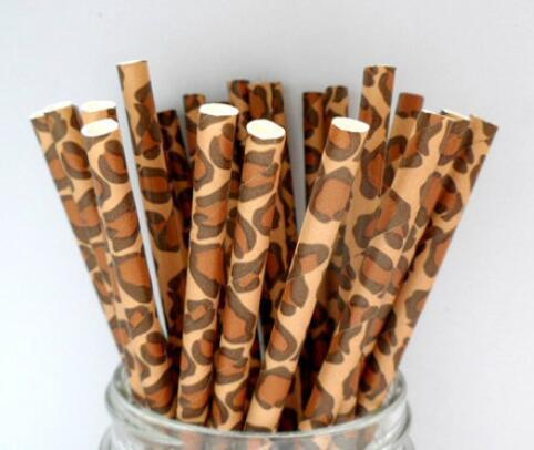 100pcs léopard papier pailles girafe guépard brun animal safari jungle zoo enfants fête d'anniversaire fournitures pailles