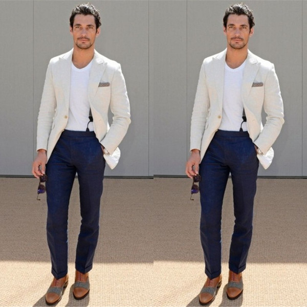 Casual Linen Mens Summer Beach Wedding Groom Party Clothing Mens Street Clothing (Ivory White Jacket + Navy Blue Pants)