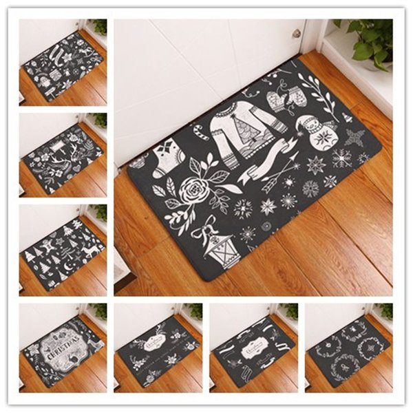 Vintage Nordic Deer Tree Merry Christmas Mat Bath Carpet Decorative Anti-Slip Mats Room Car Floor Bar Rugs Door Home Decor Gift