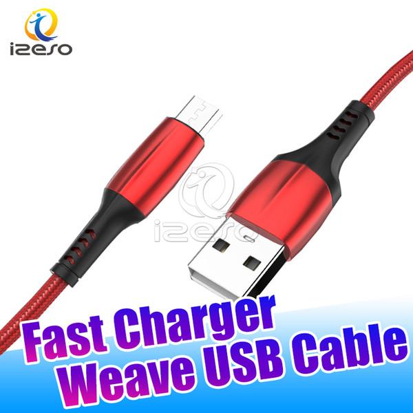 Örgülü Mikro USB Kablosu 1 M 2 M 3 M Şarj Senkron Veri Hattı Özelleştirme 2A Hızlı Şarj Şarj Kablosu Samsung Not 10 S10 S10e