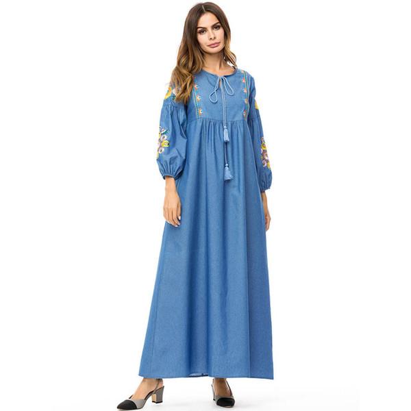 Vintage Embroidery Flower Long Dress Women Plus Size 4XL Women Denim Maxi  Dress Spring Woman Long Jeans Dresses Muslim Dress Party Dresses Juniors  Buy ...