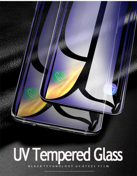 Liquid Glue Case Friendly Tempered Glass Full Adhesive Screen Protector For Samsung Galaxy Note 9 8 S9 S8 Plus Includ UV Light Protector