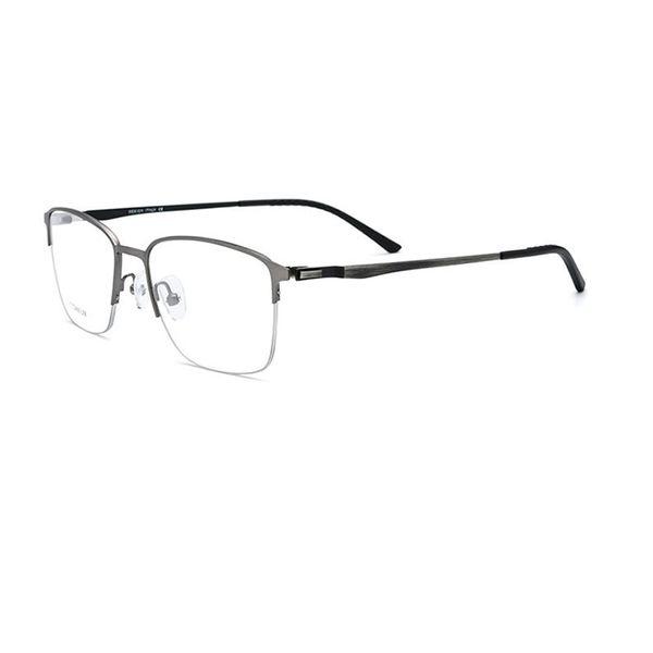 Man bussiness Classics Halfrim Titanium Alloy Optical Frame Rectangle Shape Super Thin Double Colors Drawing Temples Design Eyewear R967