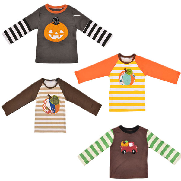 best selling Baby Halloween Patchwork T-Shirts 5 Colors Cotton Long Sleeve Pumpkin Stripe Printed Embroidery Top Kids Designer Clothes Girls Tops 0-9T 04
