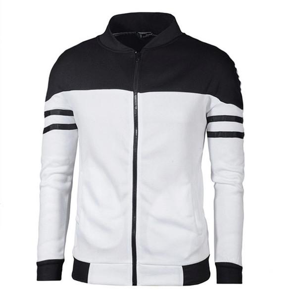 spring men baseball jacket fashion navy and white stripe design bomber coat autumn mens slim zipper sportswear brand outerwear