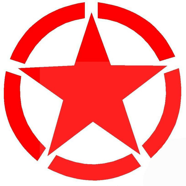 Car Engine Head Cover Fuel Tank Cap Spare Tire Roof Stickers Five-pointed Star World War II Sticker Decals