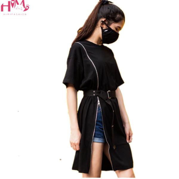 Harajuku Punk Fermuar Siyah Kadın Kemer Elbise Yaz Kore Ulzzang Gotik Tarzı Sokak Moda Bölünmüş Kadın T Gömlek Elbise T5190614