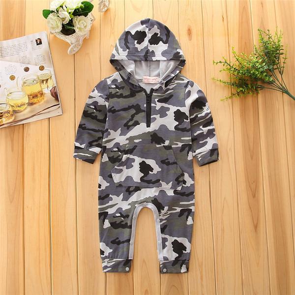 bebek giyim erkek bebek İlkbahar / Sonbahar uzun kollu kapşonlu kamuflaj Tulumlar Rompers JHU