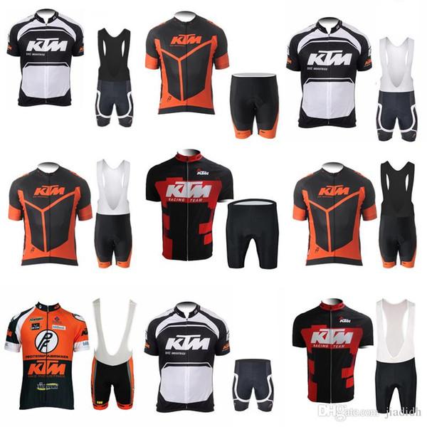 KTM Equipe de venda 2018 Ciclismo Mangas Curtas jersey (babador) shorts Conjuntos de Roupas de Vestuário de Mountain Bike Ao Ar Livre Sportswear c2912