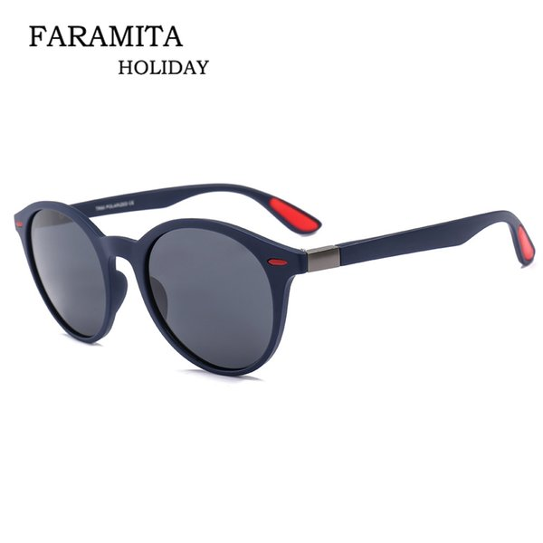 Faramita Round Cat Eye Men Fashion Sun Glasses TAC Aluminium Magnesium Frame Mens Sunglasses Vintage Drive Outdoor Sunscreen