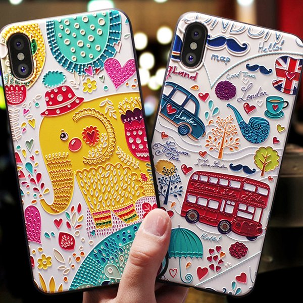 Cute 3D Phone Case Cartoon Patterned For iphone X XS XS MAX 6S 7 8 Plus Cases Soft Silicone Cover For iphone tOP