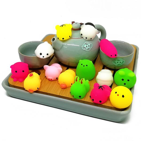 Atacado 20 Estilos Engraçado Anti Stress Pet Bonito Da Novidade TPR Animal Desabafar Dumpling Criativo Decompression Ansiedade Modelo Dos Desenhos Animados brinquedo