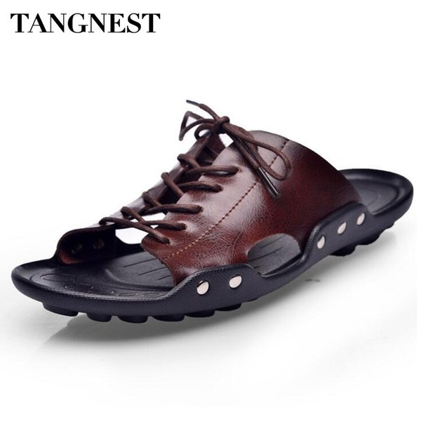 Tangnest New 2018 Men Lace UP Sandals PU Leather Slippers Men Casual Open Toe Beach Shoes Cut-out Sandals Size 38~44 XMT183 #45856