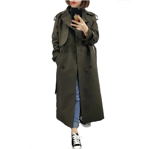 Großhandel U SWEAR Neue Mode 2019 Frühling Herbst Lässige Zweireiher Einfache Klassische Lange Trenchcoat Mit Gürtel Chic Weibliche Windjacke Von