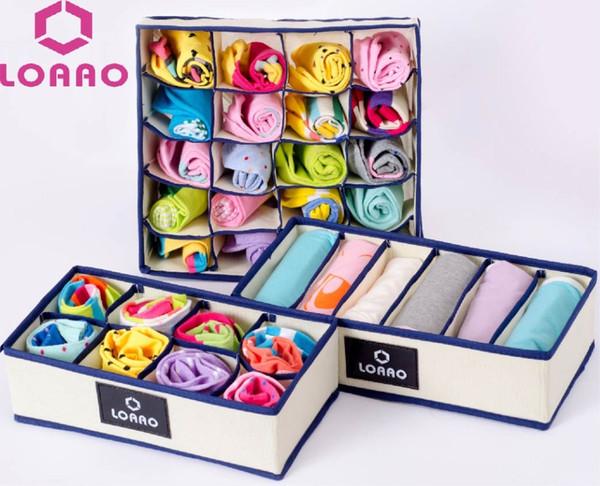 LOAAO 3pcs underwear organizer box case Socks storage box bins home storage organizer bag