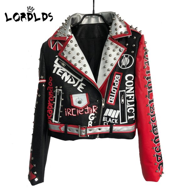 best selling LORDLDS Leather Jacket Women 2019 New Spring Neveda Fashion Turn-down collar Punk Rock Jackets with belt Ladies Outwear coats