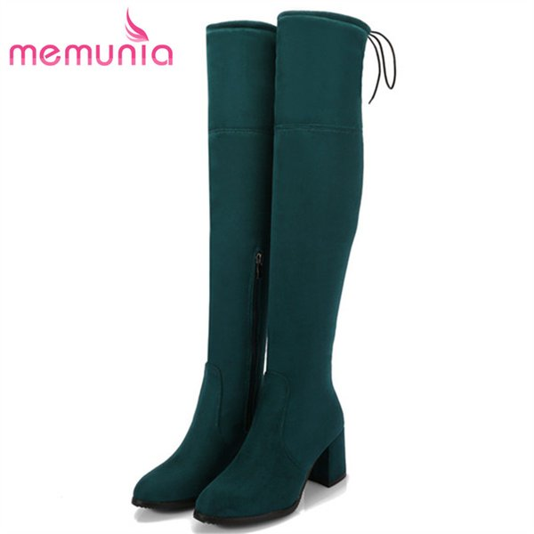 MEMUNIA Hot sale low price over the knee boots female fashion elegant high heels shoes woman boots elasticity big size