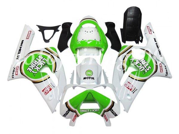 OEM Kalite Yeni ABS Enjeksiyon Kalıp Kalafatlama kitleri 03 04 Kaporta Yeşil Şanslı Gloss set Kawasaki Ninja ZX-6R için 2003 2004 ZX-6R Fit