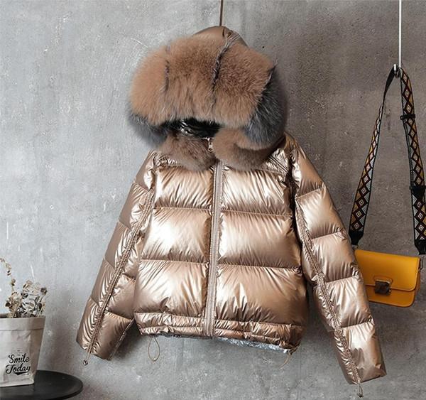Bas 2019 Nouvelle Marque Parka double face vers le bas Veste longue Col d'hiver en fourrure de canard blanc Manteau de duvet chaud rembourré Parkas vêtement neige outwear01